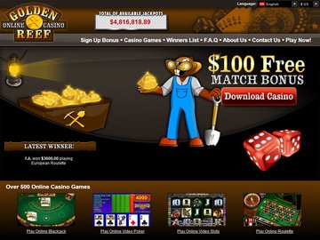 Golden Reef Casino Homepage Preview