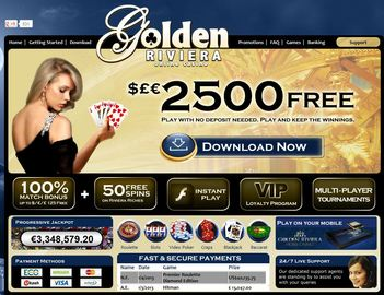 Golden Riviera Casino Homepage Preview