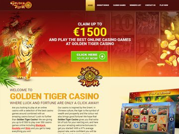 Golden Tiger Casino Homepage Preview