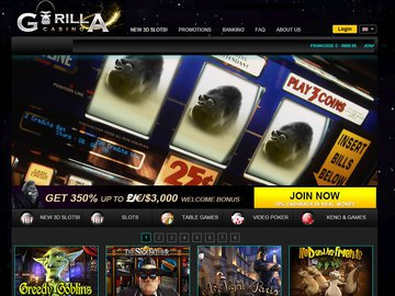 Gorilla Casino Homepage Preview