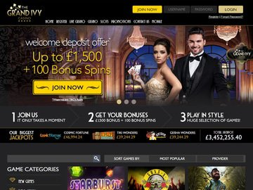 Grand Ivy Casino Homepage Preview