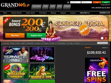 Grand Wild Casino Homepage Preview