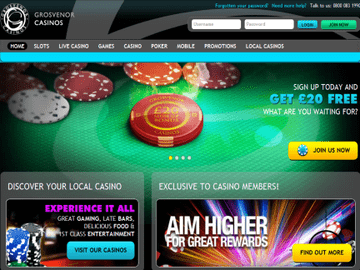 Grosvenor Casino Homepage Preview