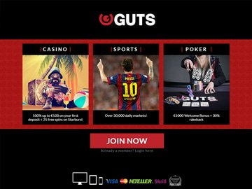 Guts Casino Homepage Preview