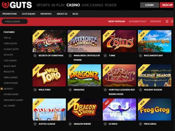 Guts Casino Software Preview