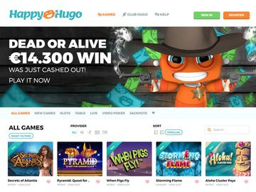 Happy Hugo Casino Homepage Preview