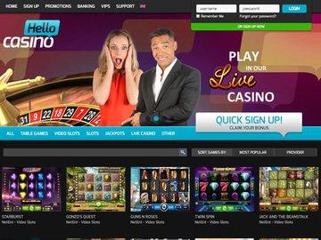 Hello Casino Homepage Preview