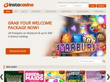 InstaCasino Homepage Preview