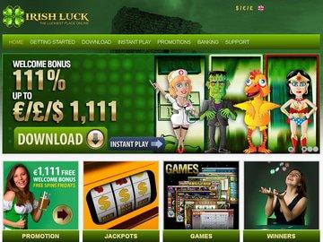 Irish Luck Casino Homepage Preview