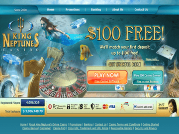 King Neptunes Casino Homepage Preview
