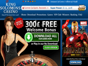 King Solomons Casino Homepage Preview