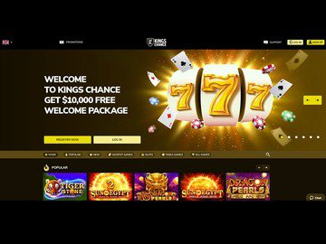 Kings Chance Casino Homepage Preview