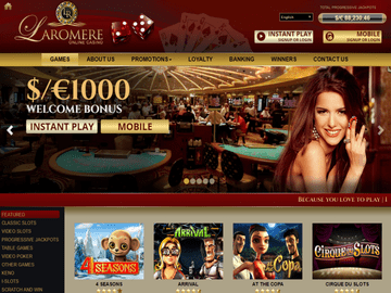 LaRomere Casino Homepage Preview