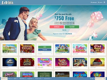 LaVida Casino Homepage Preview