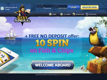 Lucky Admiral Casino Homepage Preview