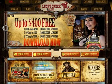 Lucky Creek Casino Homepage Preview