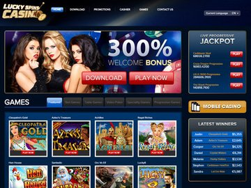 Lucky Spins Casino Homepage Preview