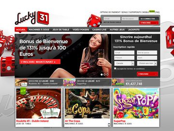 Lucky31 Casino Homepage Preview