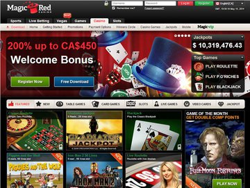 Magic Red Casino Homepage Preview