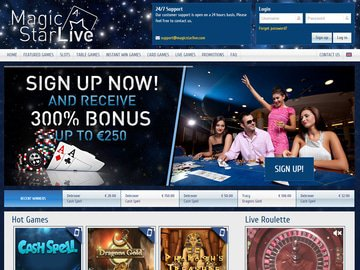 Magic Star Live Casino Homepage Preview