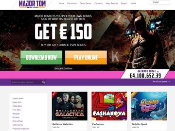 Major Tom Casino Homepage Preview