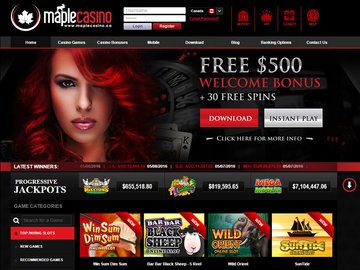 Maple Casino Homepage Preview