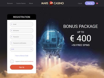 Mars Casino Homepage Preview