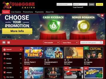 Mongoose Casino Homepage Preview