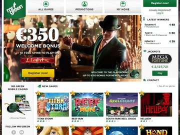 Mr Green Casino Homepage Preview