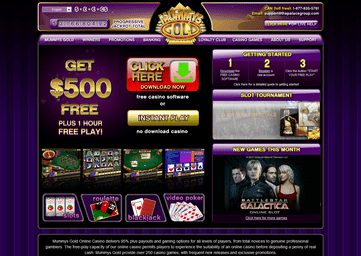 Mummys Gold Casino Homepage Preview
