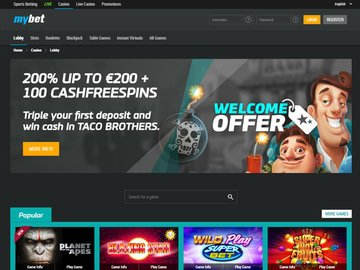 Mybet Casino Homepage Preview