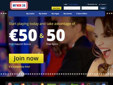 MyWin 24 Casino Homepage Preview