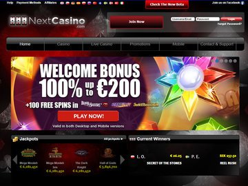 Next Casino Homepage Preview