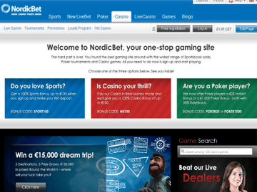 Nordicbet Casino Homepage Preview