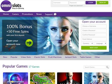 Omni Slots Casino Homepage Preview