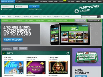Paddy Power Casino Homepage Preview