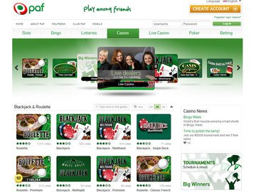 Paf Casino Homepage Preview