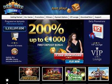 Paris Vegas Casino Homepage Preview
