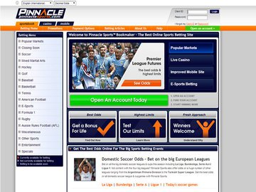 Pinnacle Sports Book Homepage Preview