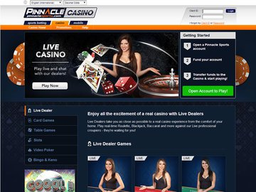 Pinnacle Sports Casino Homepage Preview