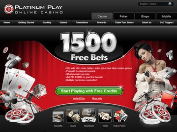 Platinum Play Casino Homepage Preview