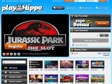 PlayHippo Casino Homepage Preview