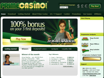 Prime Casino Homepage Preview