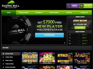 RagingBull Casino Homepage Preview