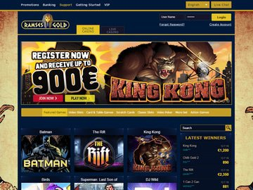 Ramses Gold Casino Homepage Preview