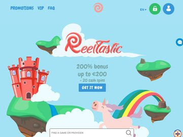 Reeltastic Casino Homepage Preview