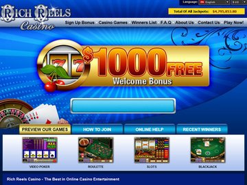Rich Reels Casino Homepage Preview
