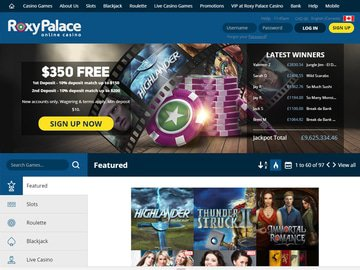 Roxy Palace Casino Homepage Preview