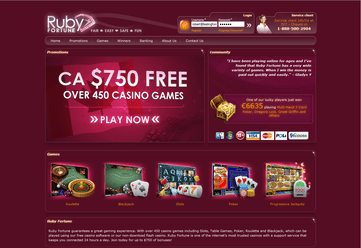 Ruby Fortune Casino Homepage Preview