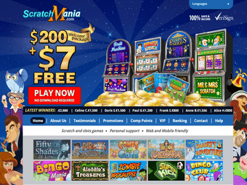 Scratch Mania Casino Homepage Preview
